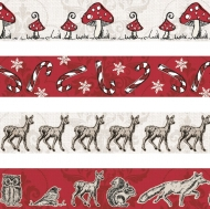 Set of 4 Christmas Deco Tapes : Heyda : Forest : Red