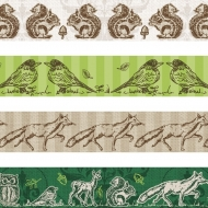 Set of 4 Deco Tapes : Heyda : Forest Animals : Green