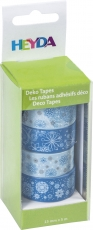 Set of 4 Christmas Deco Tapes : Heyda : Snowflakes : Blue
