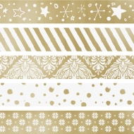 Set of 5 Christmas Deco Tapes : Heyda : Mini : Gold
