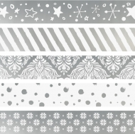 Set of 5 Christmas Deco Tapes : Heyda : Mini : Silver