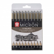 Sakura Pigma Micron : Black Fineliners : Set of 10