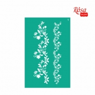 Reusable Self-Adhesive Stencil Rosa 13 x 20 cm : Border Flowers No.1