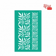 Reusable Self-Adhesive Stencil Rosa 13 x 20 cm : Border Flowers No.2