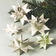 Heyda : Paper Strips for Christmas Ornaments : Froebel Stars : Pale Gold