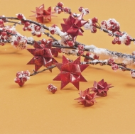 Heyda : Paper Strips for Christmas Ornaments : Froebel Stars : Dark Red