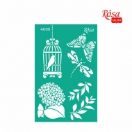 Reusable Self-Adhesive Stencil Rosa 13 x 20 cm : Bird Cage
