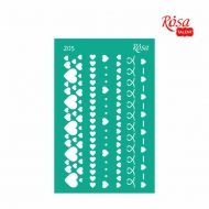 Reusable Self-Adhesive Stencil Rosa 13 x 20 cm : Heart Borders