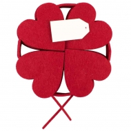 Felt Garland Decoration : 20 Red Hearts : 8 cm Height, 2.30 m Length