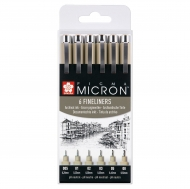 Sakura Pigma Micron : Black Fineliners : Set of 6