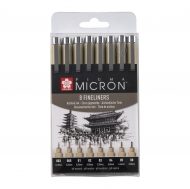 Sakura Pigma Micron : Black Fineliners : Set of 8