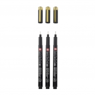 Sakura Pigma Micron : Black Fineliners : Set of 3 : Black and Gold Edition