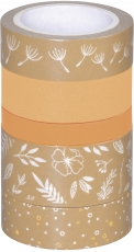 Set of 5 Deco Tapes : Heyda : Nature : Leaves : Orange