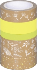 Set of 5 Deco Tapes : Heyda : Nature : Leaves : Yellow Green