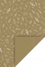 Recycled Patterned Paper : Heyda Nature : 220 gsm : A4 : Leaves and Flowers : Kraft