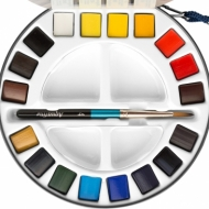 Watercolour Set Daler Rowney Aquafine Travel 18 Colours